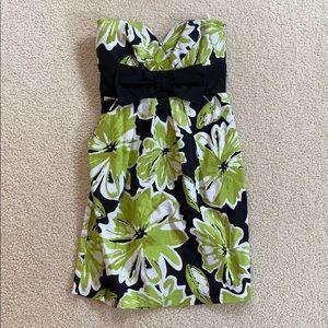 EUC floral print strapless dress